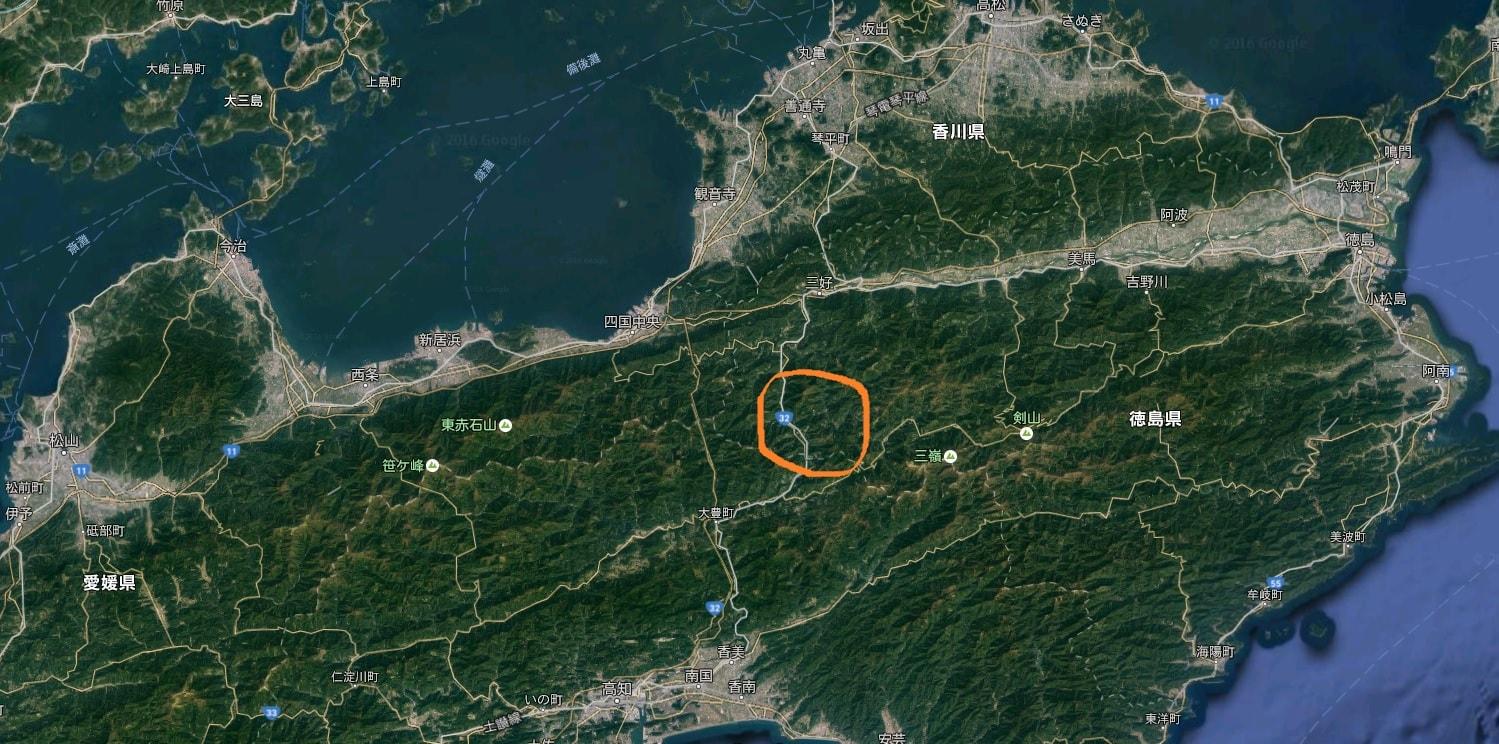 かずら橋と大歩危峡の周辺地図