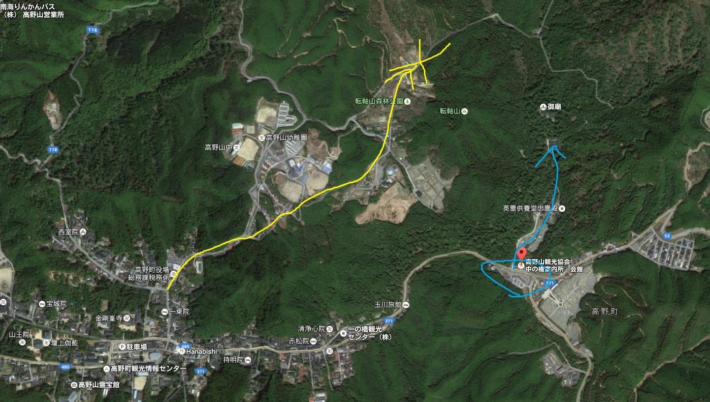 高野山周辺の地図