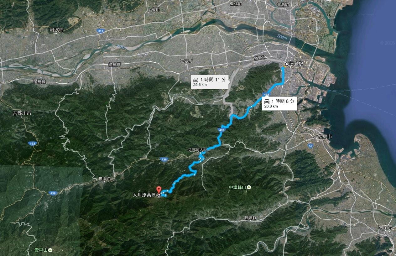 徳島駅から大川原高原への地図