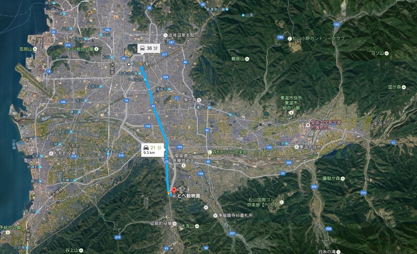 愛媛県立とべ動物園の場所