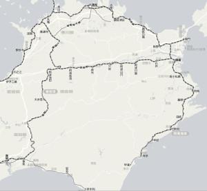 徳島県内の汽車の路線図