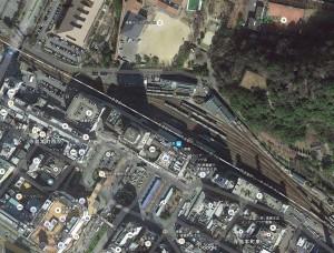 徳島駅を上空から見た図