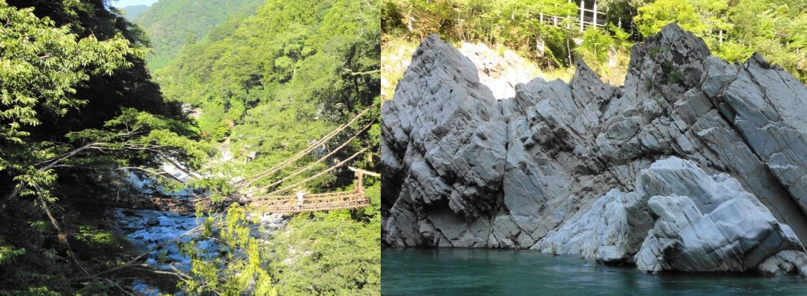 かずら橋と大歩危峡